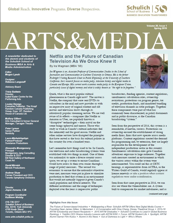 Arts and Media Newsletter 2016